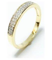 anel meia alianca banhada em ouro 18k, cravejada com cristal