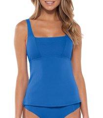 women's becca fine line tankini top, size small - blue