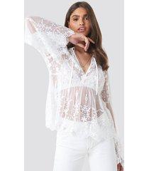 na-kd boho flower embroidery mesh blouse - white