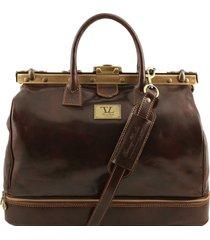 tuscany leather tl141185 barcellona - borsa da viaggio in pelle con doppio fondo testa di moro