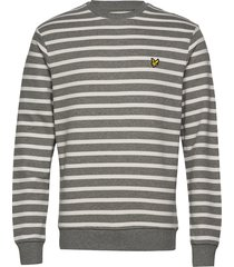 breton stripe sweatshirt sweat-shirt tröja grå lyle & scott