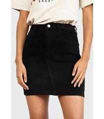 falda missguided denim super stretch  negro - calce regular