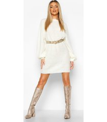 crew neck fisherman rib sweater dress, ivory