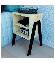 mesa de cabeceira/criado mudo natural & colors 3 prateleiras pé diagonal único