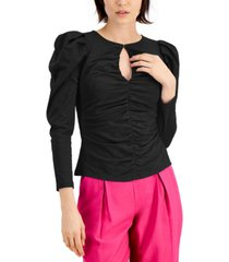 inc petite ruched keyhole top, created for macy's