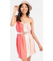 vera stripe shift dress in coral - pink