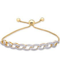 wrapped in love diamond link bolo bracelet (1 ct. t.w.) in 14k gold-plated silver, created for macy's