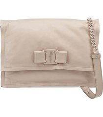 salvatore ferragamo viva puffy calfskin leather shoulder bag - beige