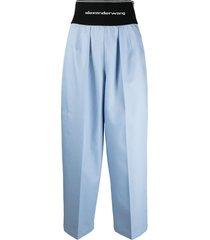 alexander wang logo elastic carrot trousers - blue