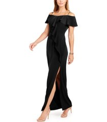 adrianna papell flounce crepe gown