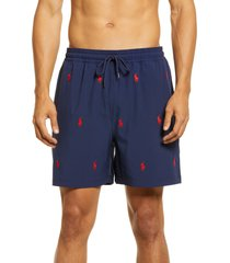 men's polo ralph lauren embroidered pony swim trunks, size small - blue