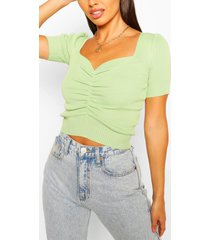 ruched front rib knit top, mint