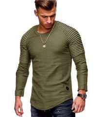 hombres de moda casual o-cuello delgado de manga larga camiseta-verde