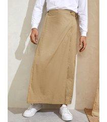 falda suelta delantera con botones estilo artes marciales vendimia para hombre