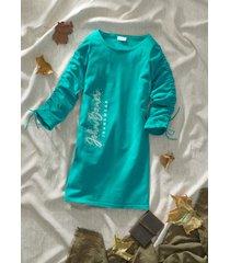 abito in maglia con arricciature e stampa (verde) - john baner jeanswear