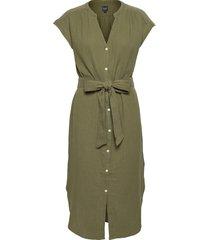 gauze midi shirtdress knälång klänning grön gap