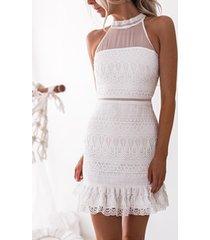 mini blanco sin mangas transparente de encaje precioso vestido