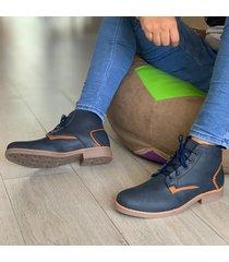 zapato botín casual  - azul marrón
