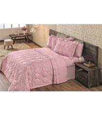 cobre leito avila queen 03 peças 100% algodão - rose