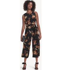 tommy hilfiger women's essential floral jumpsuit black/aubergine - 8