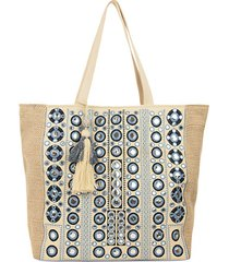 embroidered mirror canvas shoulder bag