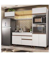 cozinha completa madesa reims 260001 com armário e balcão branco branco