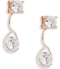 basic program rose goldtone & crystal front-back drop earrings