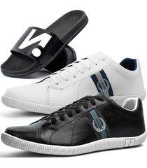 kit 2 pares de sapatãªnis casual dhl masculino preto e branco + chinelo slide - branco/preto - masculino - sintã©tico - dafiti