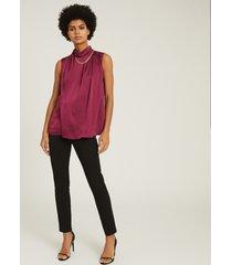 reiss freya - chain detail sleeveless top in berry, womens, size 14
