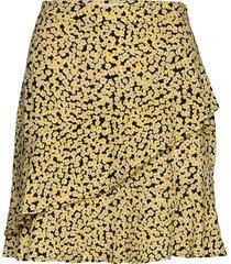 berta print skirt kort kjol gul modström