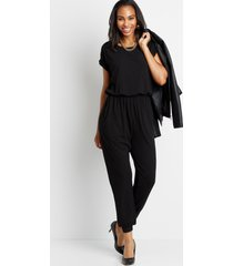 maurices womens black ribbed wide neck jumpsuit