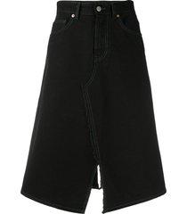 mm6 maison margiela midi denim skirt - black