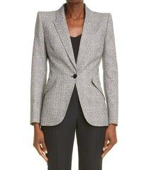 women's alexander mcqueen plaid distressed wool blazer, size 10 us - black