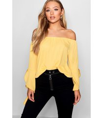 fluted frill sleeve off the shoulder top, yellow