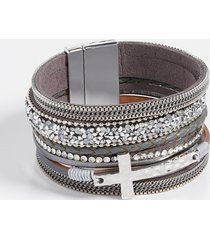 maurices womens gray multi row cross magnetic bracelet