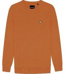 lyle and scott ml424vtr lyle&scott crew neck sweatshirt, w119 caramel