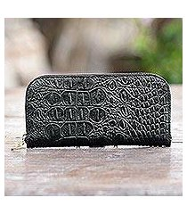 leather wallet, 'black croc' (indonesia)