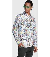 camisa desigual dewey slim multicolor - calce slim fit