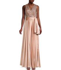 sachin & babi women's emma glitter surplice gown - rose gold - size 4