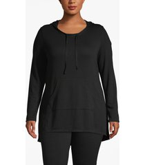 lane bryant women's active hooded high-low top 18/20 black