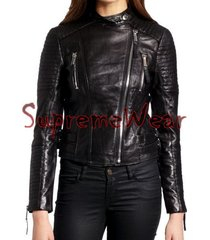 new handmade women stylish fine stitching lines style leather jacket, women leat