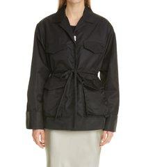 women's toteme utility jacket, size 6 us - black