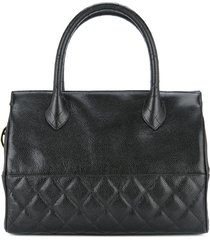 chanel pre-owned 1989-1991 diamond quilt detail tote - black