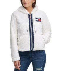 tommy jeans cropped fleece zip-up hooded jacket