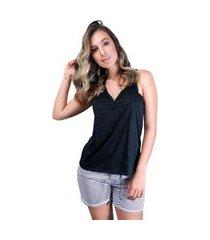 pijama mvb modas curto adulto blusa e short com laço preto