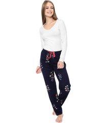 pijama malwee liberta floral branco/azul-marinho