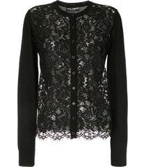 dolce & gabbana lace-front cardigan - black