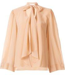 chloé lavallière silk blouse - brown