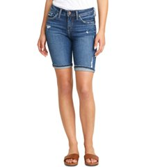 silver jeans co. suki distressed denim bermuda shorts