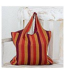 cotton shoulder bag, 'horizon lines' (guatemala)